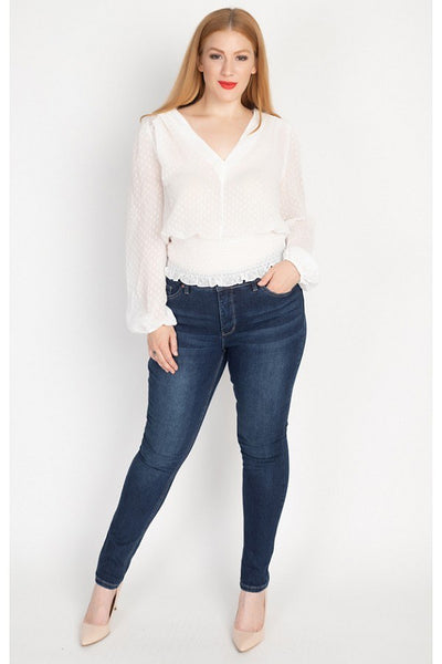 Waist Smoking V Neck Blouse