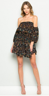 Bare Shoulder Floral Dress-Black