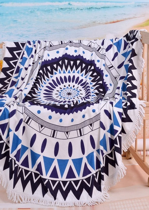 Night Compass Fringe Beach Throw