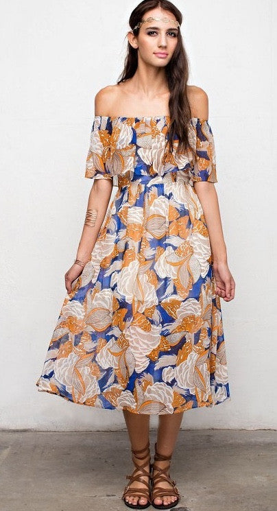 Long Sleeve Sheer Floral Dress