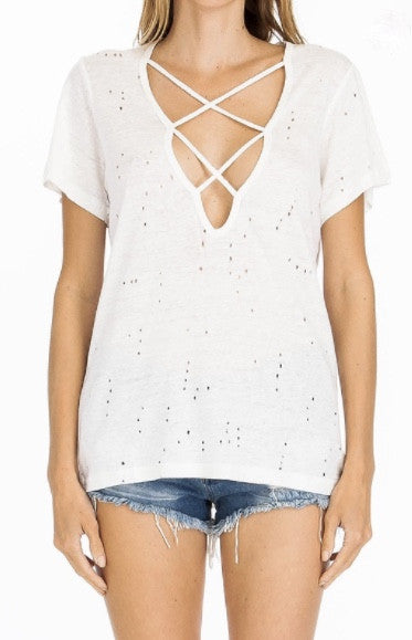 Distressed and Strappy-White