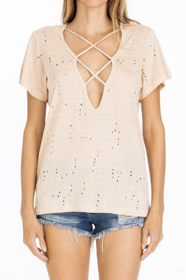 Distressed and Strappy-Blush