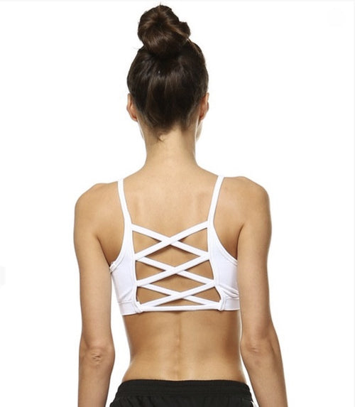 Criss Cross Sports Bra- White