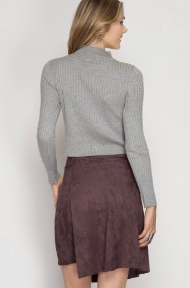 Plum suede wrap skirt