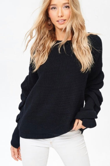 Ruffle Sleeve Sweater- Black