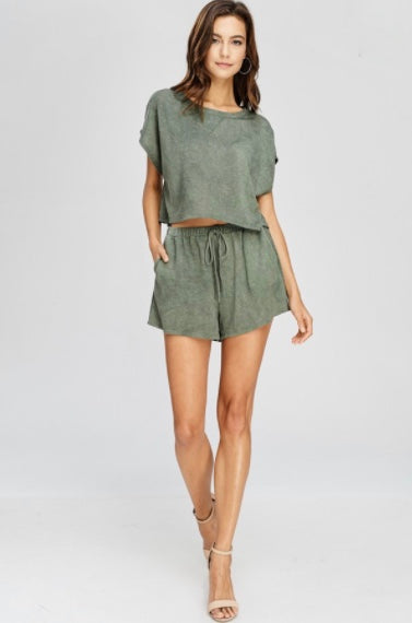 Crop Short Set-Olive