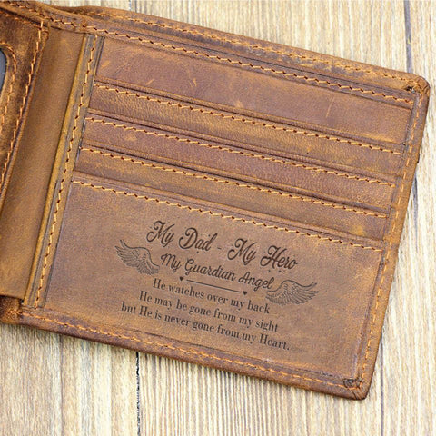 Image of My Dad My Hero Leather Wallet