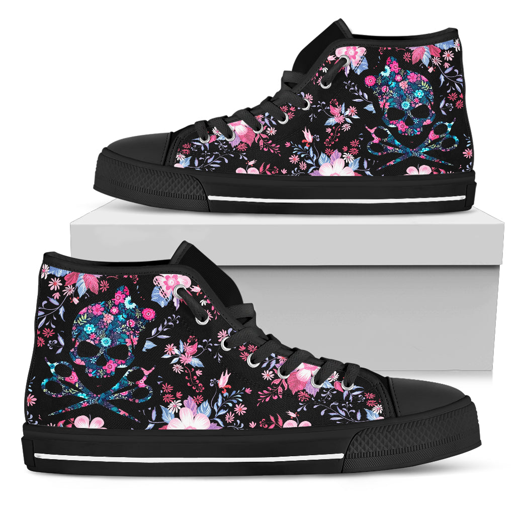 Canvas High Top Sneaker Casual Skate Shoe Mens Womens Floral Ribbon Breast Cancer Awareness