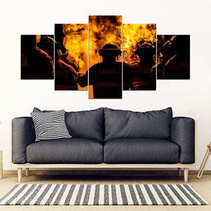 [Ship To USA Only] Three Fire Fighter Man Framed Canvas