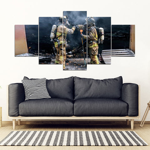 Fire Fighter Two Man Framed Canvas