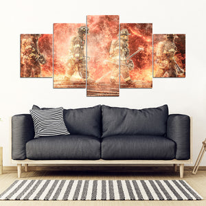 [Ship To USA Only] Four Fire Fighter On Thunder Fire Framed Canvas