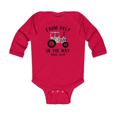 Image of Farm Help On The Way Easter Day 2019 - Long Sleeve Bodysuit