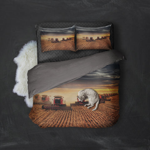 Farmer Red Rice Harvesters Bedding Set