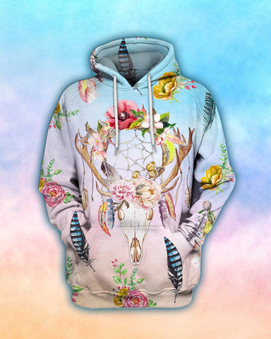 Image of Farmer Cow Dream Catcher & Flower Hoodie