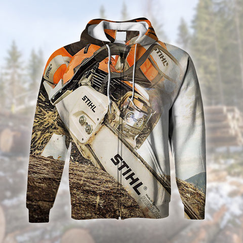 Logger Cool Mens 3D Zip Hoodi
