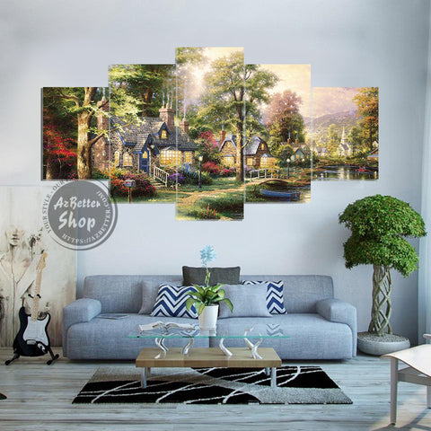 Image of Peaceful Village By the River 5 Piece Canvas