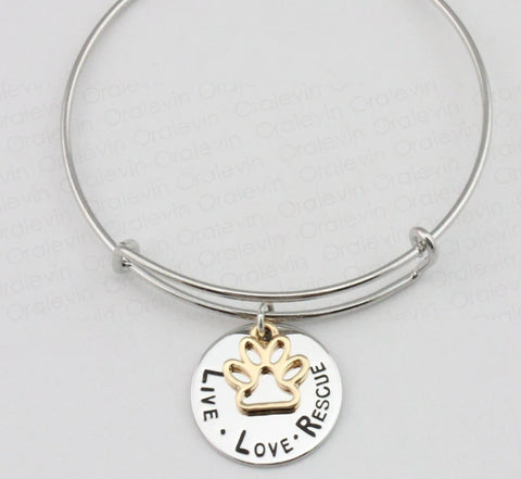 Image of LIVE LOVE RESCUE Paw Print Charm Necklace