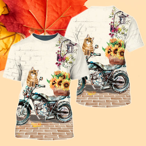 Cat On Motorcycle With Sunflower 3D T-Shirt