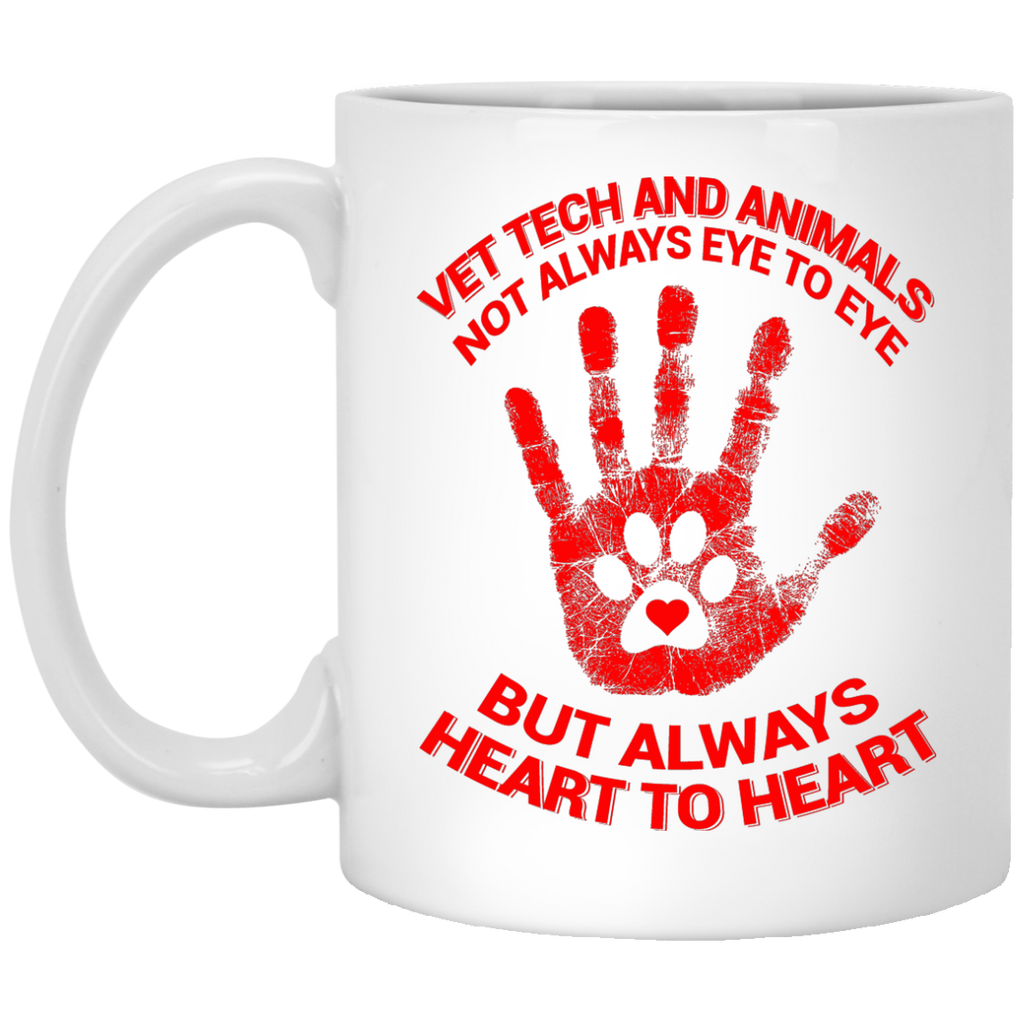 Vet Tech and animals not always eye t eye mug