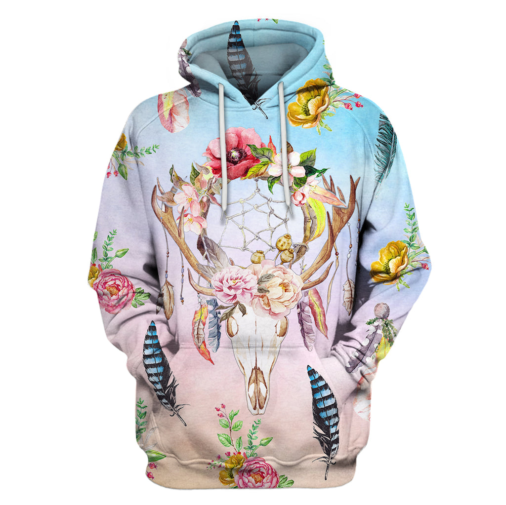 Farmer Cow Dream Catcher & Flower Hoodie