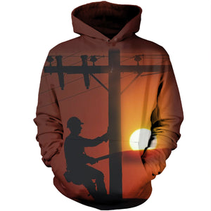 Electrician On Sunset 3D Hoodies