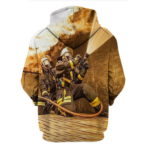 Image of Fire Fighter Contrast 3D Hoodies