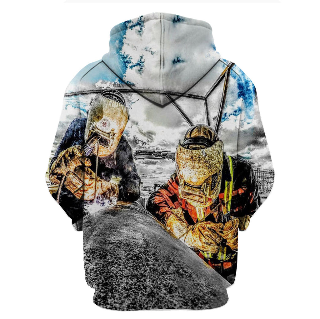 Welder Two Man Bright Sky 3D Hoodies