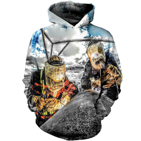 Image of Welder Two Man Bright Sky 3D Hoodies