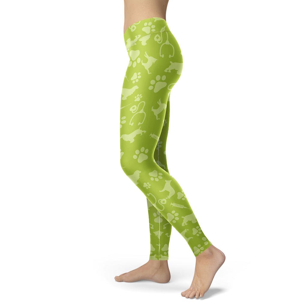 Vet Tech Green Footprint 3D Legging