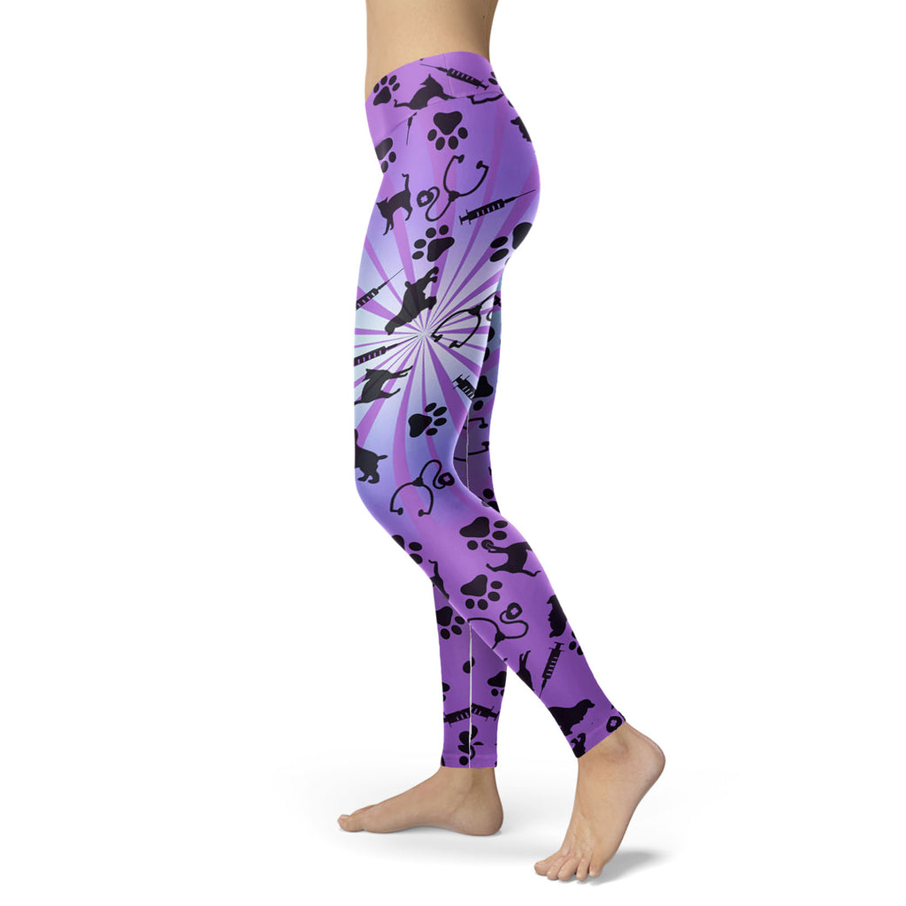 Vet Tech Cat Violet 3D Legging