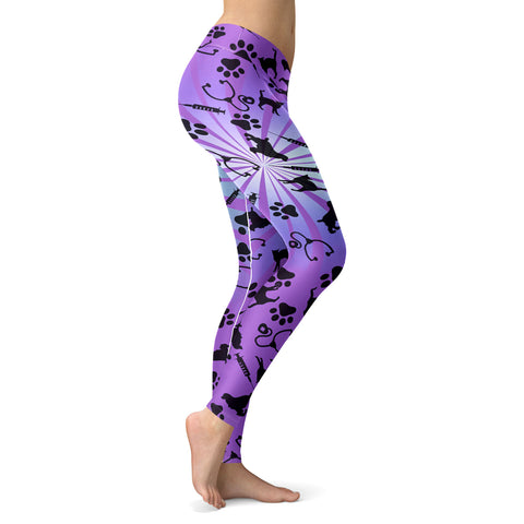 Image of Vet Tech Cat Violet 3D Legging