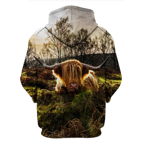 Image of Farmer Old Cow Lying In The Forest 3D Hoodies