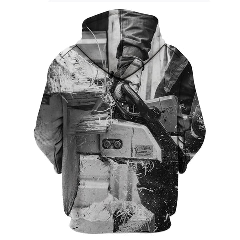 Black White Logger Man 3D Hoodies