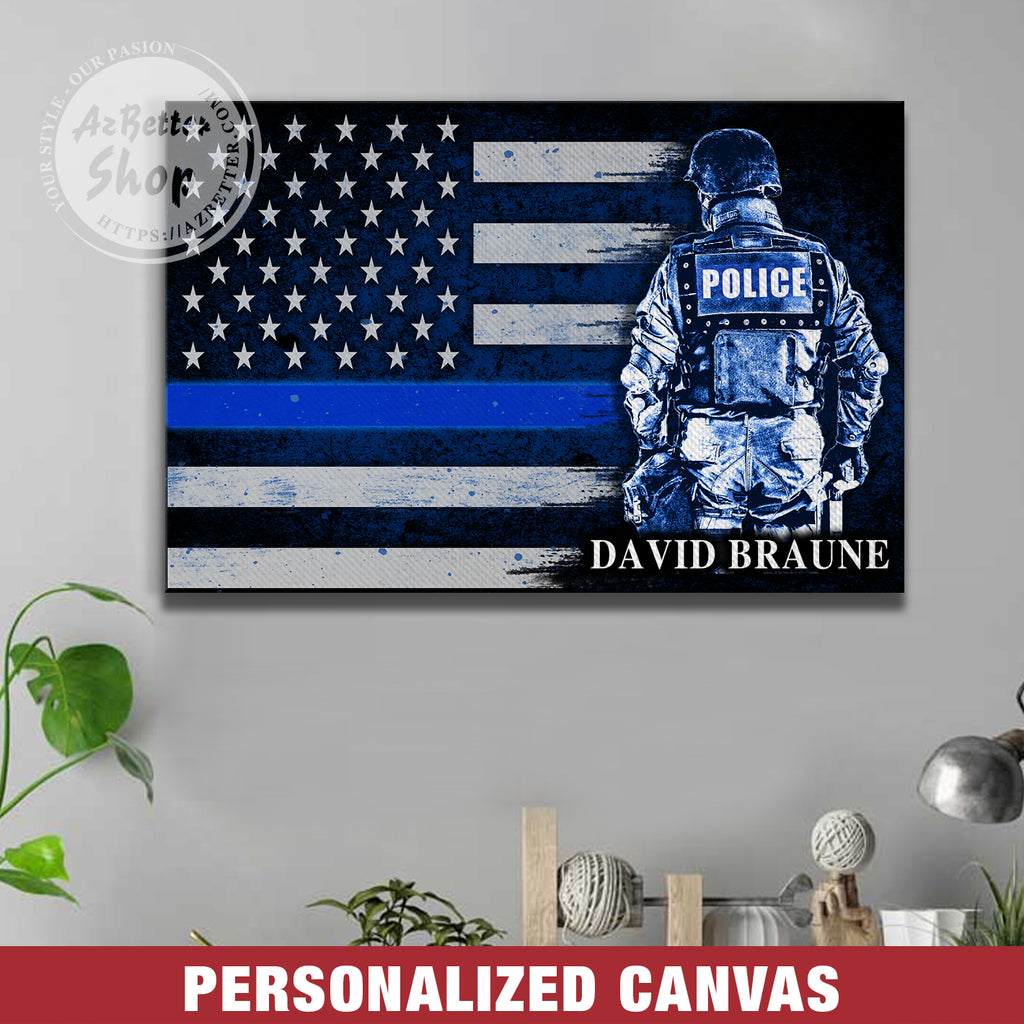 Personalized Police Officer Thin Blue Line Flag Canvas