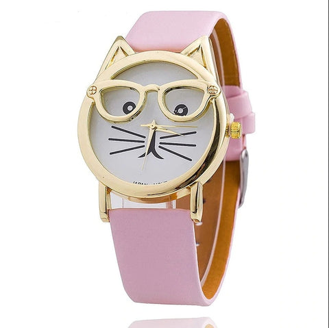 Cute Nerdy Cat Wristwatch