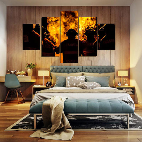 Three Fire Fighter Man Framed Canvas