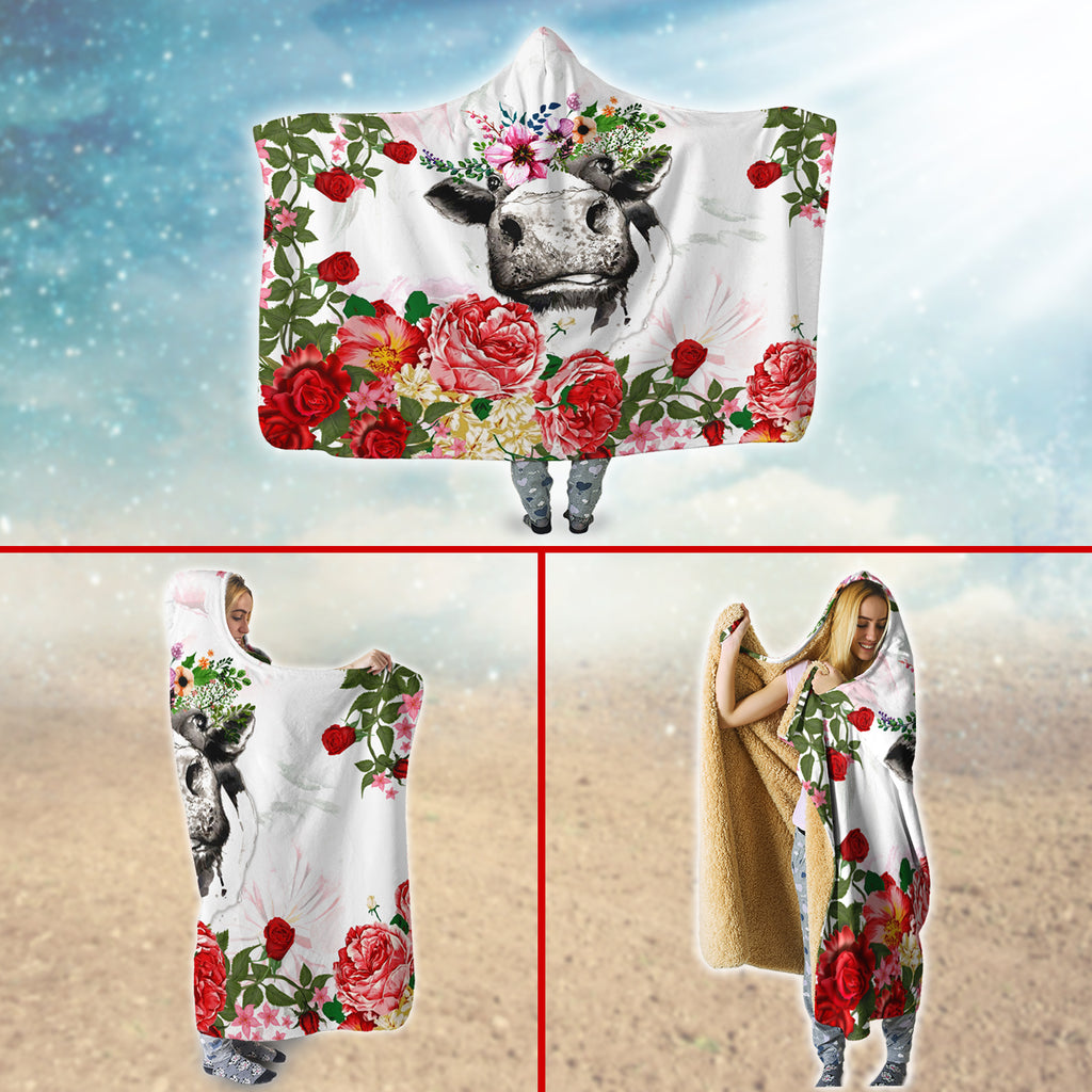 Farmer Roses And Cows Hooded Blanket