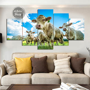 Cattle On The Field 5 Piece Canvas