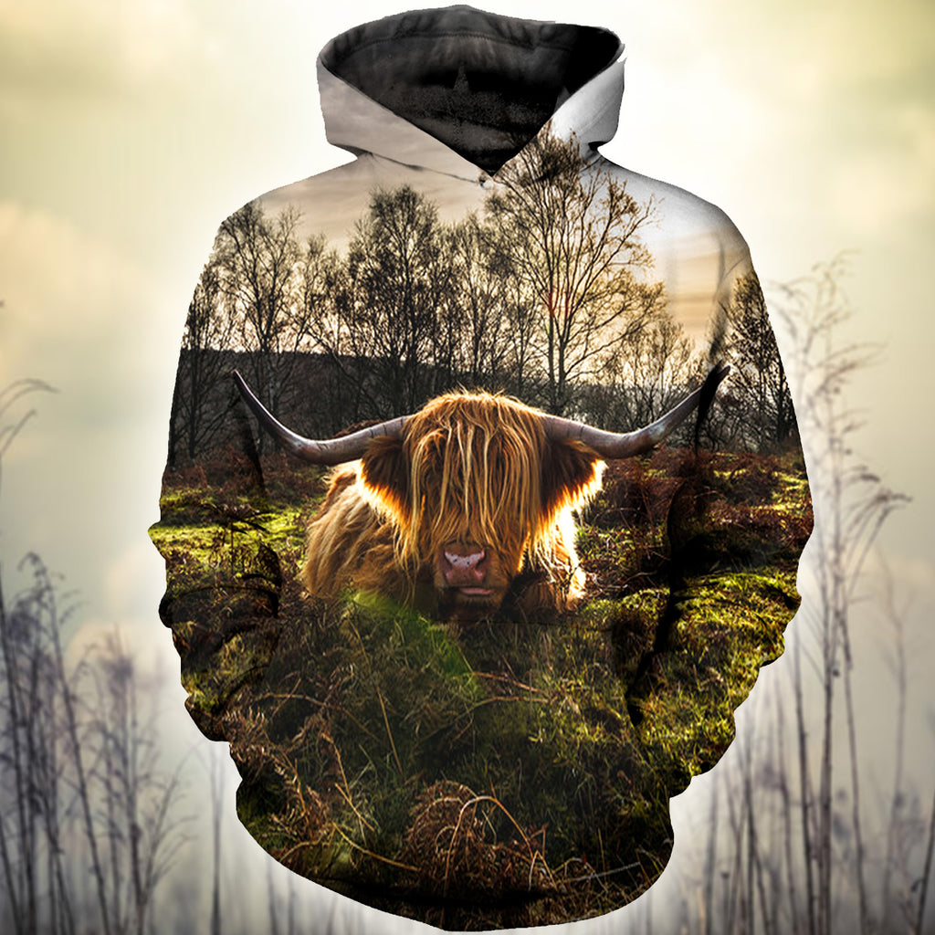 Farmer Old Cow Lying In The Forest 3D Hoodies