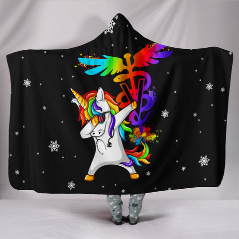 Black Vet Tech Unicorn Hooded Blanket