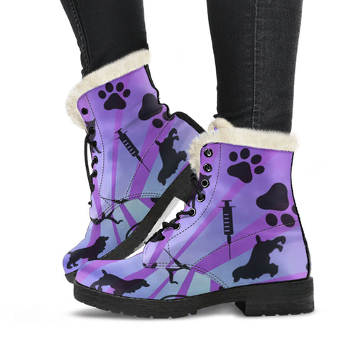 Image of Vet Tech Animals Paw Faux Fur Leather Boots