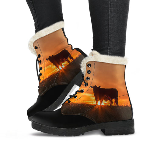 The Sunset In The Farmer Cow Faux Fur Leather Boots