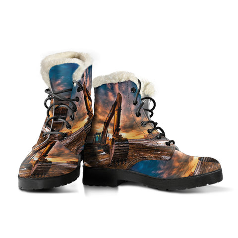 Heavy Equipment Operator Excavator Faux Fur Leather Boots