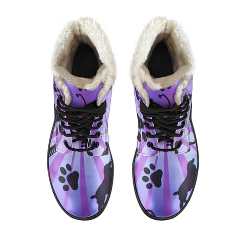 Vet Tech Animals Paw Faux Fur Leather Boots
