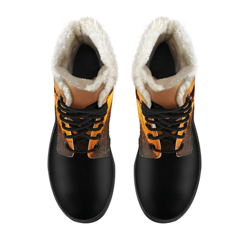 Image of The Sunset In The Farmer Cow Faux Fur Leather Boots