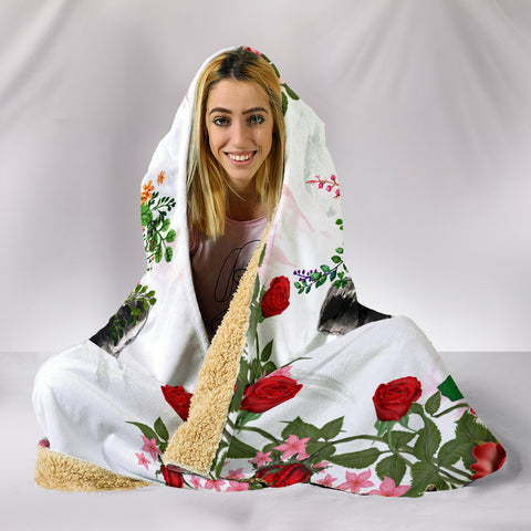 Image of Farmer Roses And Cows Hooded Blanket