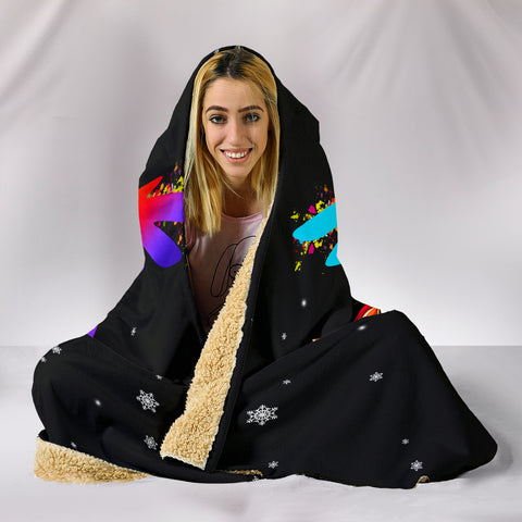 Image of Black Vet Tech Unicorn Hooded Blanket