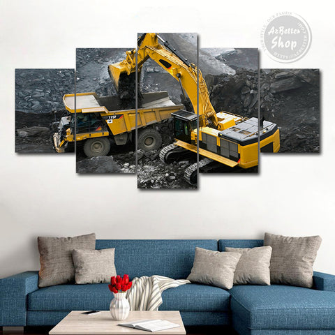 Heavy Equipment Operator On The Field 5 Piece Canvas