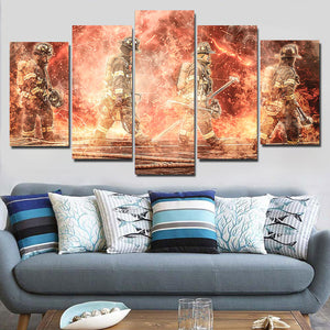 Four Fire Fighter On Thunder Fire Framed Canvas