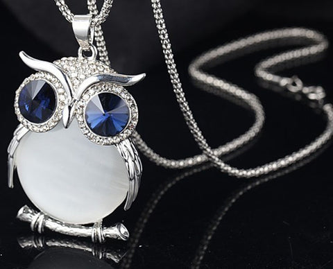 Image of Vet tech Cute Owl Pendant Sweater Chain Long Necklace Jewelry Best Gift for Veterinarian